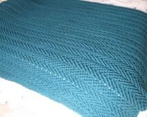 Teal Ripples Handmade Crocheted Afghan