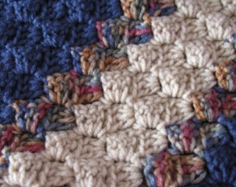 Angled Crocheted Afghan in Blues and Browns