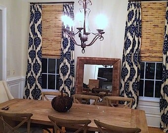 IKAT CURTAINS. Duralee Home Kalah Ikat.  2 Curtain Panels 50x84.  Blue And Beige Ikat  Curtains.  Home And Living. Window Treatments