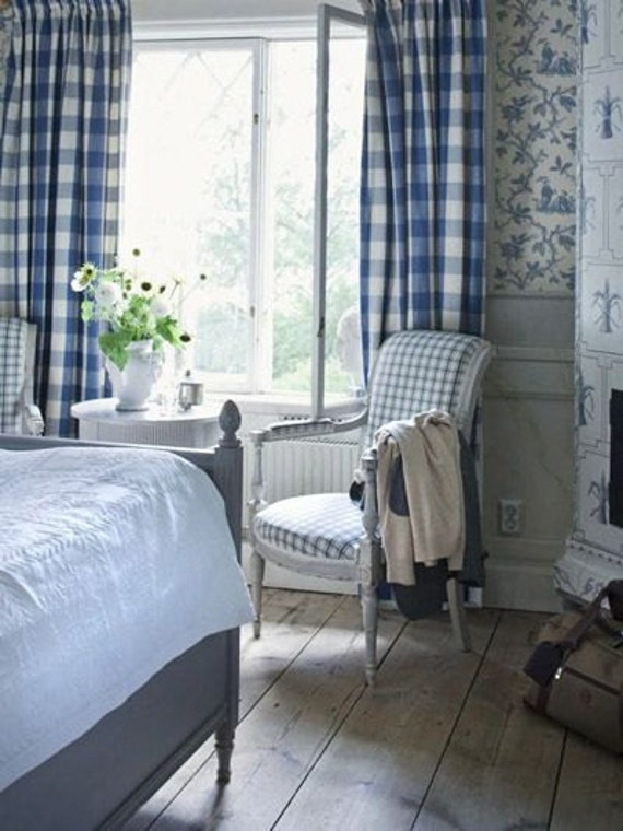 Items Similar To Buffalo Check Curtains Blue And White Large Check Blue Cadet 2 Panels 50x84