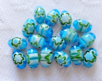 17  Turquoise Blue Green & White Oval Flower Millefiori Lampwork Glass Beads  8mm x 12mm