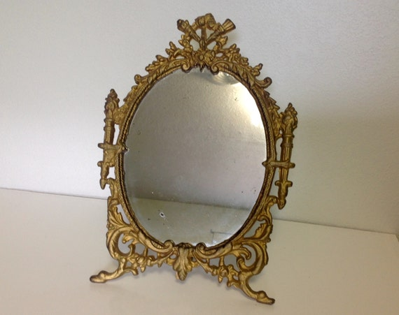 Antique Victorian Tabletop Ornate Gold Gilt Cast Iron Vanity