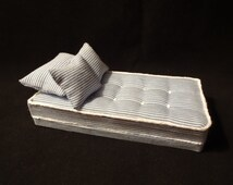 "Dollhouse Miniature Single Mattress, Box Spring, Pillow And 2 Decorative Pillows 1"" Scale Handmade"