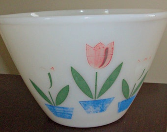 Vintage Fire King Milk Glass Tulip Flowers Large Bowl