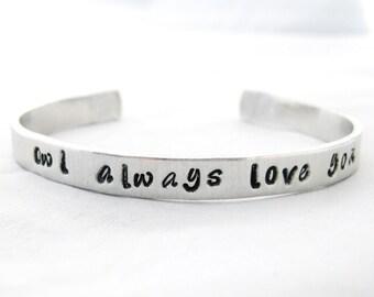 OWL ALWAYS LOVE You Bracelet Cuff  - Owl Jewelry, Owl Always Love You, Cuff Bracelet, Hand Stampe Jewelry