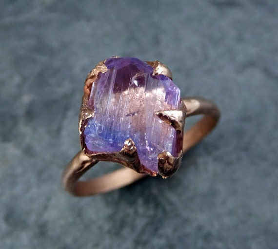 Champagne Tanzanite Tanzanite: Raw Tanzanite Crystal Rose Gold Ring Rough Uncut Gemstone