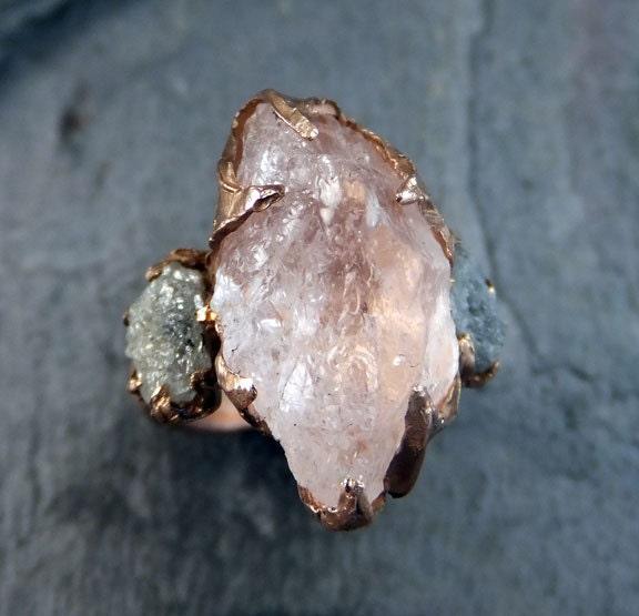 Raw Morganite Diamond Rose Gold Engagement Ring Wedding Ring