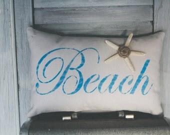 Beach Decorative Pillow Decor Pillow Simple Pillow Beach Pillow Summer Pillow Starfish 14x9 accent pillow