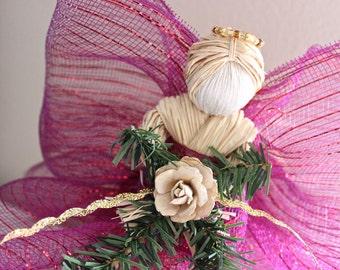 Christmas Tree Topper - Raffia Angel Tree Topper - Christmas Decor - Burgundy Raffia Angel w/ Beige Flower Christmas Ornament