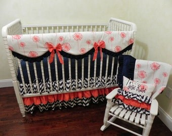 Baby Girl Bedding Set Josie - Girl Crib Bedding,  Coral and Navy Baby Bedding, Scalloped Crib Rail Cover and 3 Tiered Skirt -