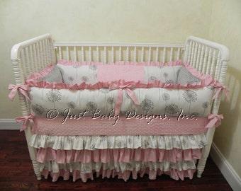 Custom Baby Bedding Set Elsa - Girl Baby Bedding - Pink and Grey Crib Bedding
