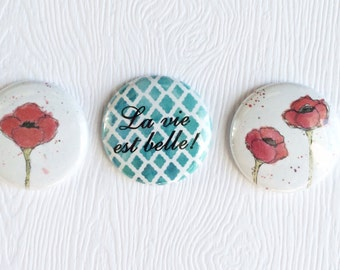 "3 badges 1 ""Poppies"