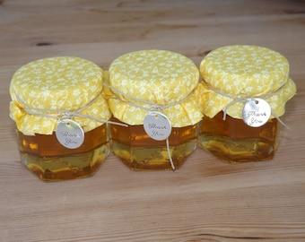 Set of 12- 2oz. Honey Jar Favors- Wedding Jar Favors- Rustic Favors- Bridal Shower, Baby Shower Favors