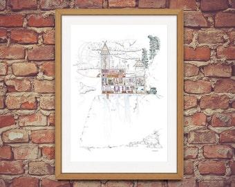 Meteorologists'  Gadget Filled House - Narrative Architectural Illustration