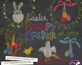Easter Chalk clipart, Chalkboard Easter Clipart, Chalk Digital Clip Art Pack with Easter Wordart, Easter clipart overlays