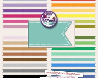 Stitched Ribbons, Multicolored ribbons, digital ribbons, ribbons clipart, stitched ribbons, digital flags, clip art set of rainbow ribbons