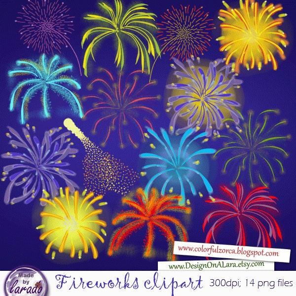 Fireworks Digital Clipart Dazzling Fireworks Clip Art