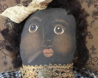 Primitive folkart black doll handcrafted