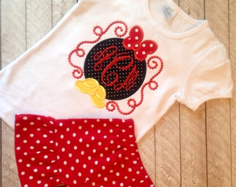 Minnie inspired ruffle shirt with red and white polka dot ruffle shorts