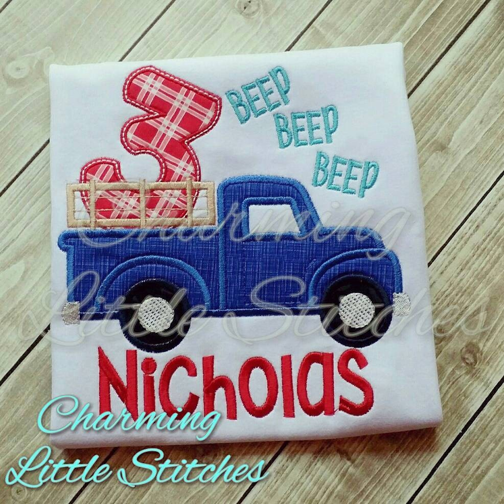 The little blue truck number birthday by charminglittlestitch for Little blue truck fabric