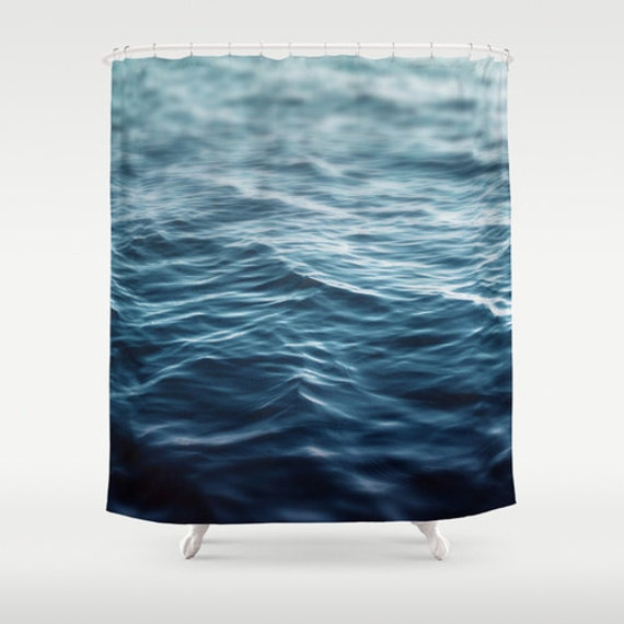 Dark Waters Shower Curtain Blue Ocean Sea Water Decor Beach Surf Nautical Bathroom Tub Loft