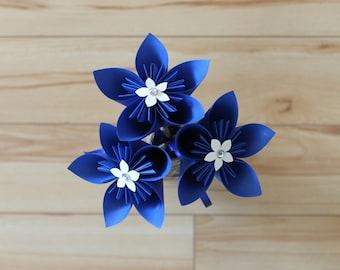 Royal Blue Bouquet - Bridesmaid or Flower Girl Bouquet - Origami Flowers - Wedding Centrepiece