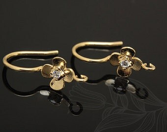 E809-10 pairs-Gold Plated-flower hook earring