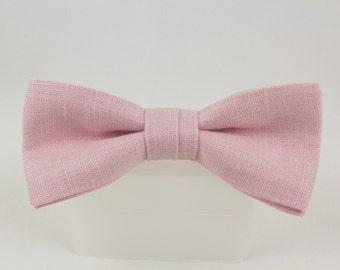 Handmade Pink Irish Linen Clip on Bow Tie  from Vintage Fabric Bowtie
