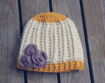 Crochet baby girl hat with flowers