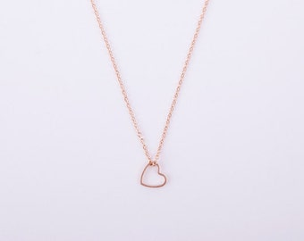 LOVE Filigree Rose Gold Plated Necklace Heart Rosegold