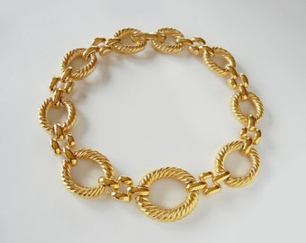 Givenchy Gold Tone Massive Link Necklace/Collar, 80s new, Authentic,signed