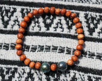 SALE- Elastic Tahitian Pearl & Bayong Wood Bracelet