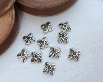 Bead cups old silver tone 6 mm x 10 pcs