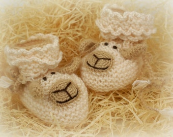 Knitted Baby Sheep Booties Crochet Baby Shoes Beige Newborn Baby Socks Gift for Baby /0-6 month