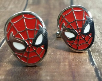 Spiderman Cufflinks - Mens Cuff links, Spiderman  inspired Design, with a Gift Box - Jewelry for Men
