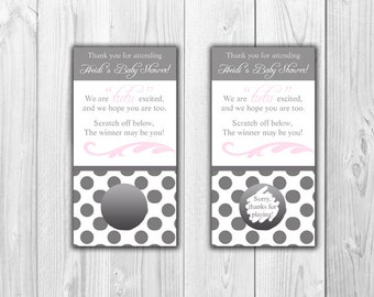 Baby Shower Scratch Off Cards - Tutu Themed Pink and Gray - 10 Cards