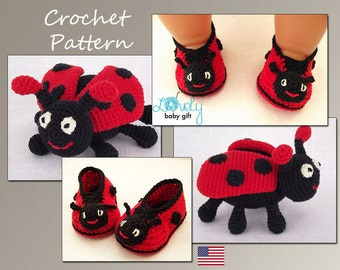 Crochet Pattern Deal, Amigurumi Toy and Ladybug Booties Crochet Patterns, Ladybug Set, Instant Download