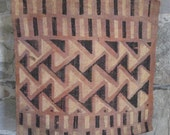 Vintage Kuba Cloth Panel with Raised Pile Designs Triangles and Stripes