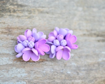 Lilac flower earrings, sterling silver hooks