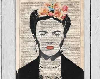 Frida Kahlo, Dictionary Art Print, Upcycled Book Art, Silhouette, dictionary page Wall Decor, Wall Hanging, Mixed Media Art