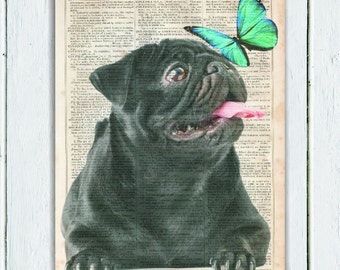 Pug Butterfly, Dictionary Art Print, Upcycled Book Art, Silhouette, dictionary page Wall Decor, Wall Hanging, Print on Dictionary Paper