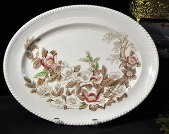 1920's Antique Platter, England, Vintage platter,Johnson Brothers, brown, white, china platter, English, Fabulous gift Idea, #1845