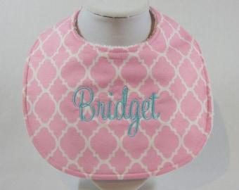 monogrammed bib pink quatrefoil