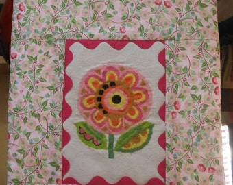FUNKY FLOWER - Cross Stitch Wall Hanging - 11.5 x 15 Inches Spring