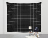 Grid Tapestry // Black and White Tapestry // Wall Hanging