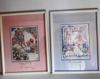 """Vintage  2- Jody Bergsma Limited Edition 1988 """" Home is Where Heart is"""" & 1995 """"Angels""""   Signed and Numbered Matted and Framed 17 X 13"""