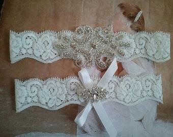 SALE - Bridal Garter, Wedding Garter and Toss Garter - Crystal Rhinestone Garter Set on a White Lace - Style G2880