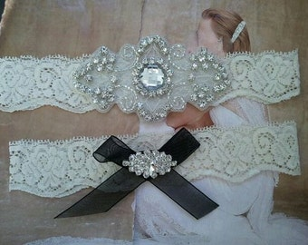 Wedding Garter, Bridal Garter, Garter - Crystal Rhinestone Garter Set on Ivory Lace - Style G271