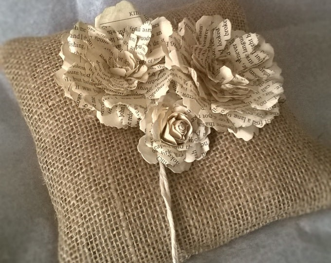 Book Page Rose , Burlap Ring Bearer Pillow , Book Page Flower Ring Cushion, Made to order