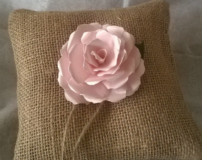 Burlap Ring Bearer Pillow with Pink Rose, Ring Cushion, Made to order